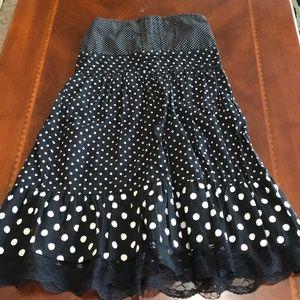 Rue 21 Black and White Polka Dot Strapless Dress